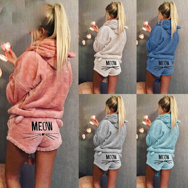 Women Coral Velvet Suit Two Piece Autumn Winter Pajamas Warm Sleepwear Cute Cat Meow Pattern Hoodies Shorts Set