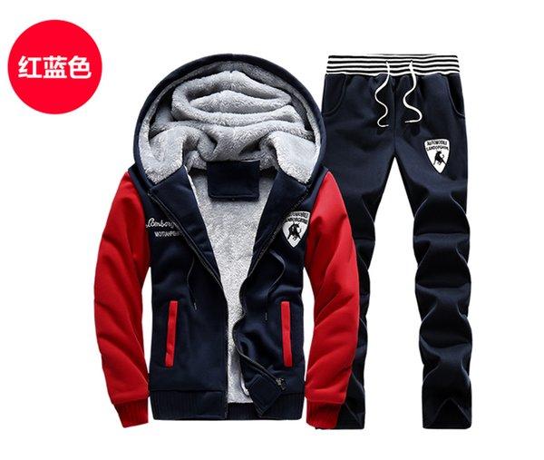 Wholesale-Winter AutumnMen Sweat Suits Fleece Warm Mens Tracksuit Set Casual Jogging Suits Sports Suits Cool Jacket Pants And Sweatshirt Set