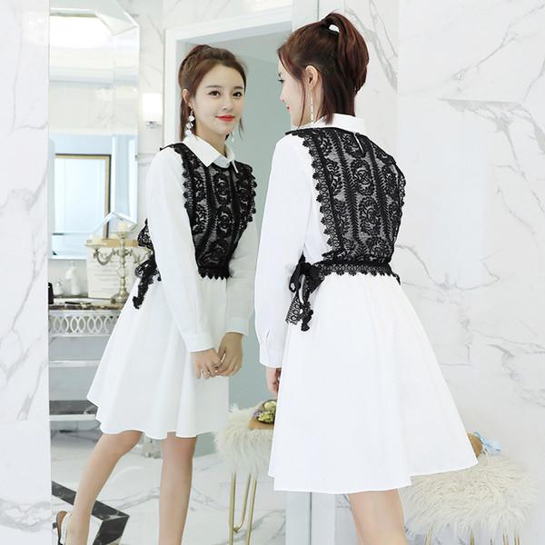 Women Spring dress 2018 new female Korean sweet LACE VEST + waist thin long sleeved shirt dress two pieces