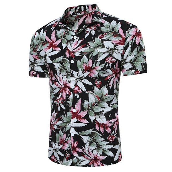 3XL Slim Boy Short Blouse Male Vintage Shirt Dinner Party Wear 2018 Summer Cool Blusa Tide Floral Print Korean Style Club Shirts