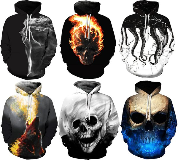 NWT Men Winter Autumn Hoodies Wiht Hat Pocket 3D Skulls Prints Pullover Street Fashion Plus size Hoodies Sweatshirts jackets Long Sleeve