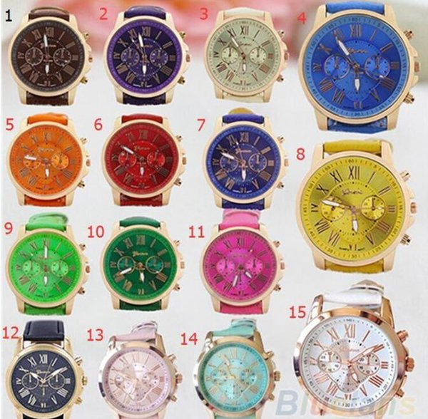 top popular Unisex Luxury Geneva Watches PU Leather Band Quartz Roman Numerals Analog Colored Wristwatches for Men Women Casual Crystal Wrist Watch 2019