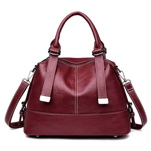 Sacs à main de luxe sac à bandoulière en cuir souple pour les femmes 2018 nouvelle mode Messenger Sac Casual Boston Big Tote Ladies Black Sac