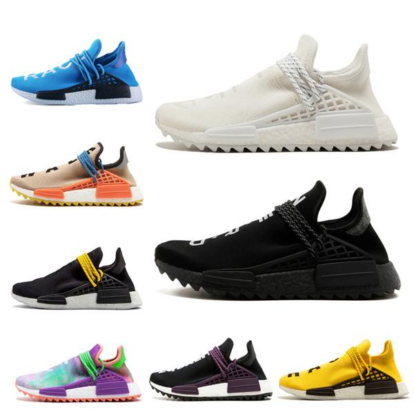 Pharrell x nmd race humaine Hu Trial hommes femmes chaussures de course NERD Core noir crème blanc rouge égalité holi sport baskets taille 36-47