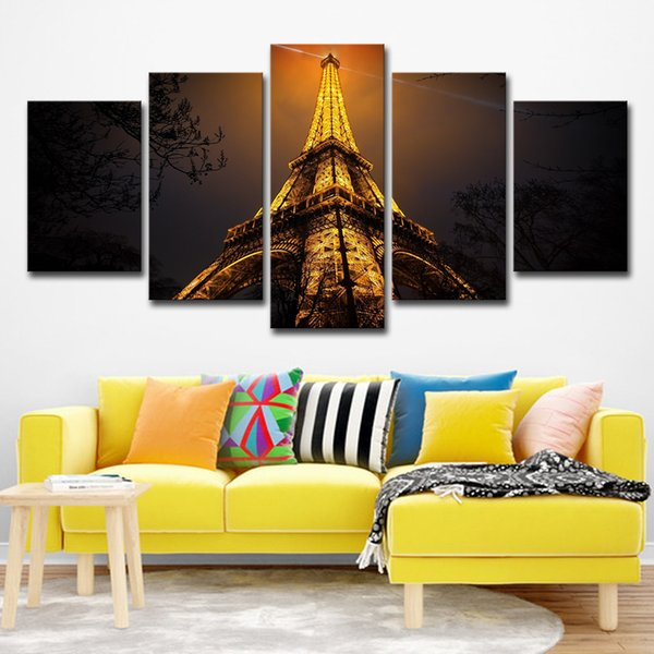 Wall Art Canvas HD Prints Painting Poster 5 Piece Looking Up To The Top Of Eiffel Tower Night View Pictures Home Decor