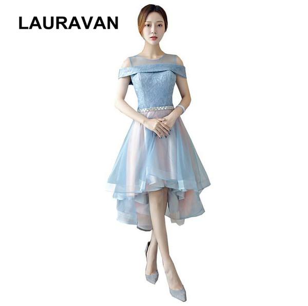 Frente curta longo voltar alto baixo sexy vestidos formais ilusão real imagem jantar elegante vestido de dama de honra vestido frete grátis