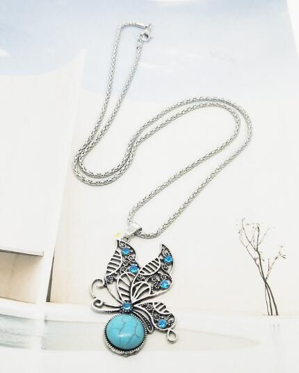 free shipping European and American fashion vintage folk style turquoise butterfly necklace earrings set fashion classic exquisite elegance