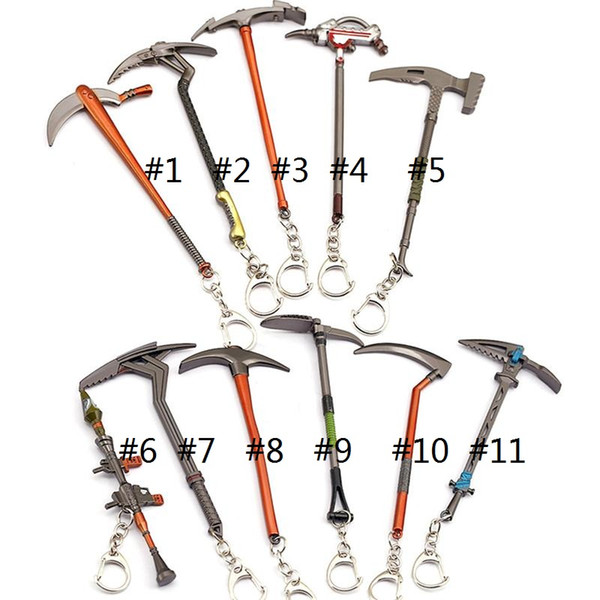 top popular game Key Chain Hammer Axe Weapon Model The Fortress Night Pendant Pickaxe Hoe Toy keychains keyrings 2020