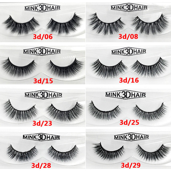 Natural Long Mink 3D hair false eyelashes hand-made reusable fake lashes soft & vivid 12 styles available black cotton stalk DHL Free