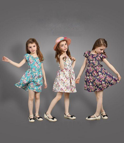 summer kids baby girl short sleeve floral dress cute flower printing dress skirt child kids baby girls clothes top quality