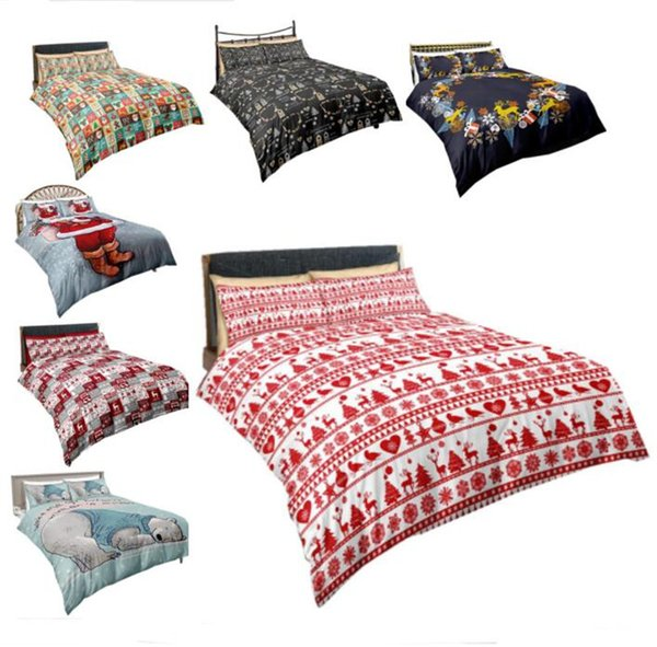 Christmas Bedding Sets Quilt Cover Pillows 3D Cartoon Printing Duvet Cover Supplies Three-piece Suit Santa Claus Printed Bedroom Bedding hot