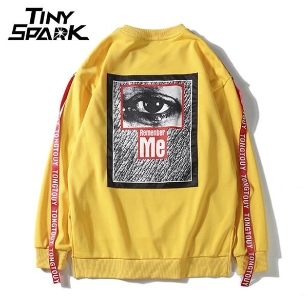 Yellow Eye Sweatshirt Herren High Street Schwarz Pullover ohne Kapuze Boy Girl Harajuku Zurück Drucken Big Eye Sweatshirt Swag Ribbon 2018