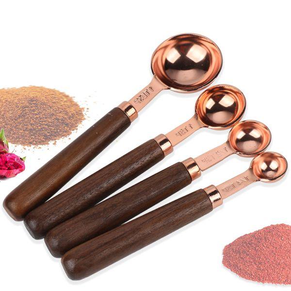 4 Pieces/Set Stainless Steel Measuring Spoon Wood Handle Dry Measurement Baking Tool Soup Teaspoon Spoon Home Kitchen Gadget