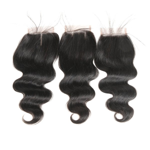 4x4 capelli brasiliani dell'onda del corpo capelli umani chiusura del merletto svizzero parte centrale / parte libera / tre parti con nodi sbiancati capelli di Remy 8 '' - 24 ''