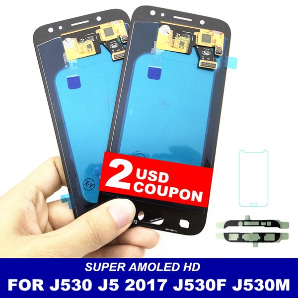 """With Brightness Control AMOLED LCDs For Samsung Galaxy J5 2017 J530 J530F J530M LCD 5.2"""" Display Touch Screen Digitizer Assembly"""