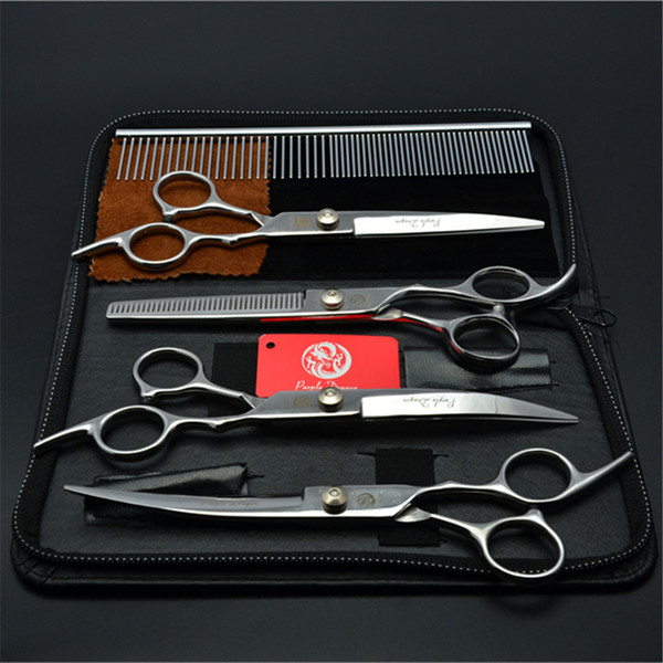 "5Pcs Suit 6"" Purple Dragon Pets Hair Grooming Shears Steel Comb+Cutting+Thinning Scissors+UP&Down Curved Shears Cats Hair Clipper Z3001"