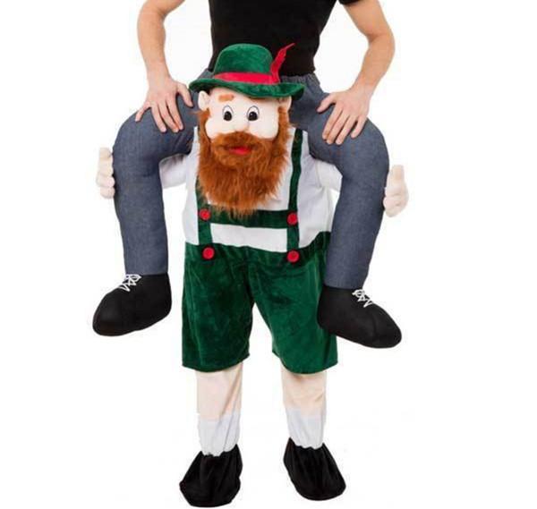 Cerveza bávara Chico Piggy Back Vestido de fiesta divertido Oktoberfest Carry Me Ride On Funny Dress Traje de mascota