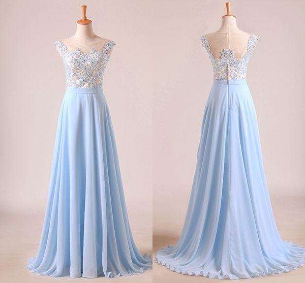 Elegant Light Sky Blue Prom Dresses Sheer Neck Cap Sleeves Appliqued Chiffon Floor Length Formal Dresses Modest Evening Party Gowns DH4099