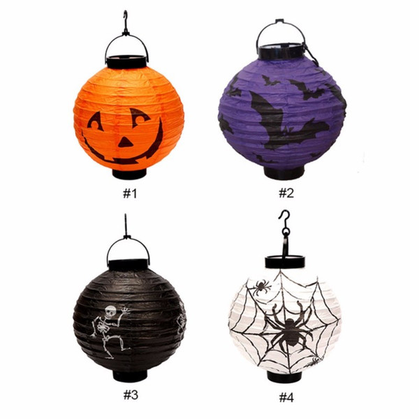 Halloween Decoration LED Paper Pumpkin Light Hanging Lantern Lamp Halloween Props Outdoor Party Supplies 4 Colors Foldable
