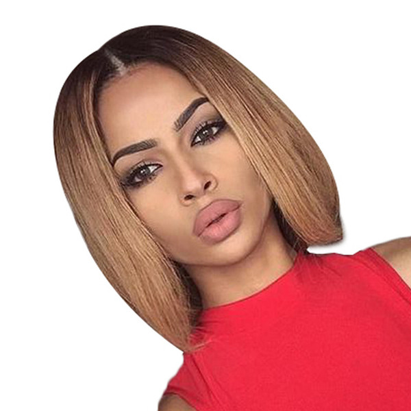 ombre #1bT27 Short Bob Front Lace Wigs For Black Women Virgin Brazilian Full Lace Front Human Hair Bob Wigs
