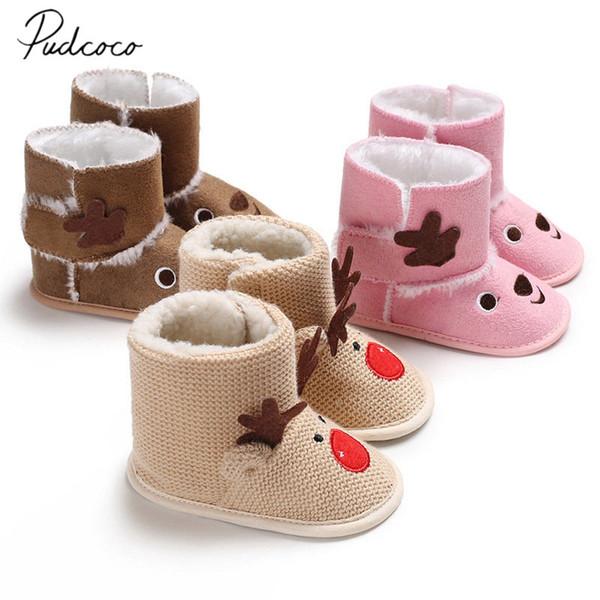 Macio Prewalker Inverno Neve Santa Sola Bebê Recém-nascido Veados 2018 Primeira Menina Berço Da Marca Botas Crianças Caminhantes De Pelúcia Criança Novos Sapatos
