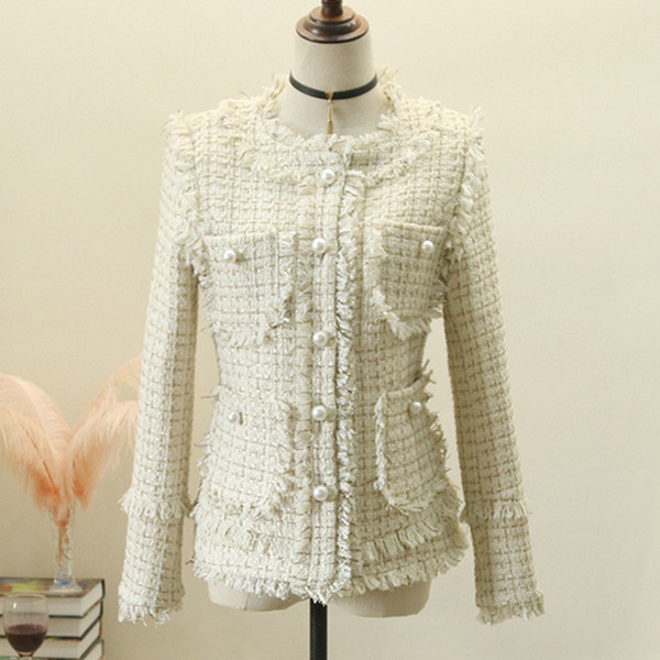 Autumn Winter Women Jackets Elegant Woolen Long Sleeve Slim Formal Outerwear Coats Ladies Spring