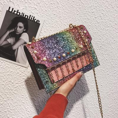 2018 New Wave Korean Version Of the Wild Sequins Tassels Chain Organ Bag Messenger Bag girl Shoulder Fashion Small Square Package