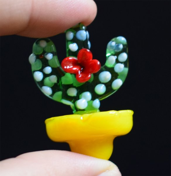 Solid Colored Glass cactus UFO Carb Cap dome 23mm OD for glass bongs water pipes oil rigs Thermal P Quartz banger Nails Hookah