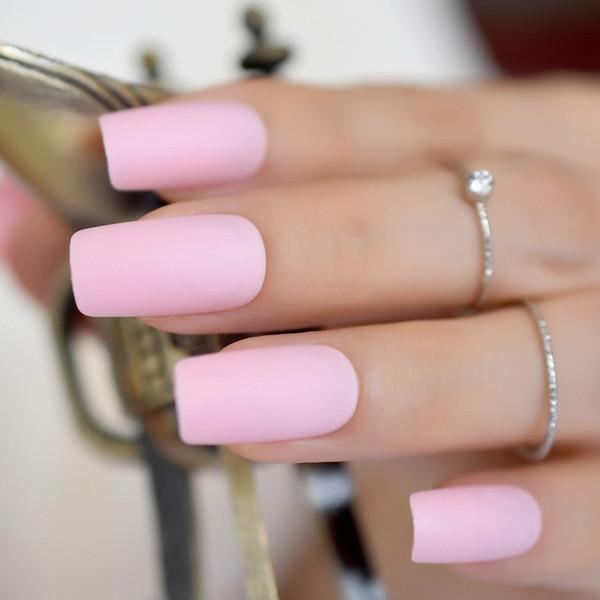 24 pcs / kit Pur Rose Bonbons Matte Nails Ongles Moyen Complètement Enveloppé BRICOLAGE Acrylique Artificielle Nail Lady Daily Porter Des Accessoires De Manucure 265 M