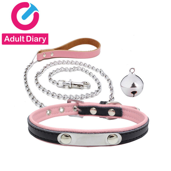 Adult Diary PU Leather BDSM Collar & Metal Chain Leash Erotic Toys Fetish Slave Torture Sex Toys for Couples Adult Bondage Games Y18102405