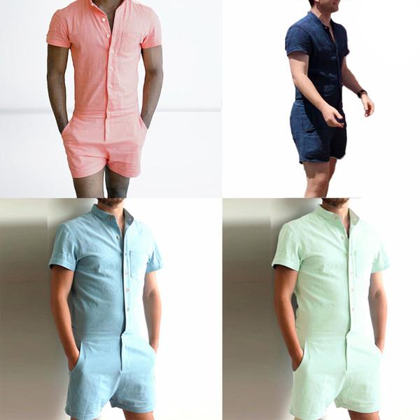 Summer Unique Romper Men Linen Shirt Short Sets Single Breasted Jumpsuit Fashion Overalls Tracksuit Casual Cargo Pants