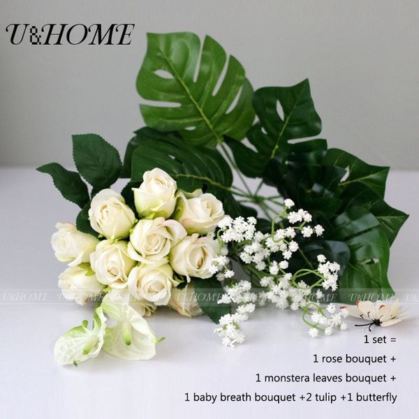 Artificial Diy Collocation Flowers Bouquet Silk Rose Plastic Monstera Leaves Babysbreath White Tulip For Home Decoration Party