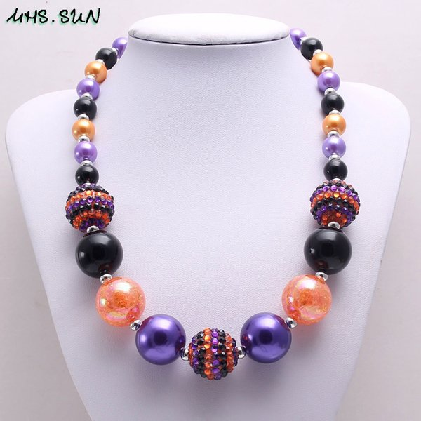 Newest Design Halloween Color Girl Kid Chunky Beads Necklace Fashion Halloween Gift Bubblegum Bead Chunky Necklace Jewelry For Children