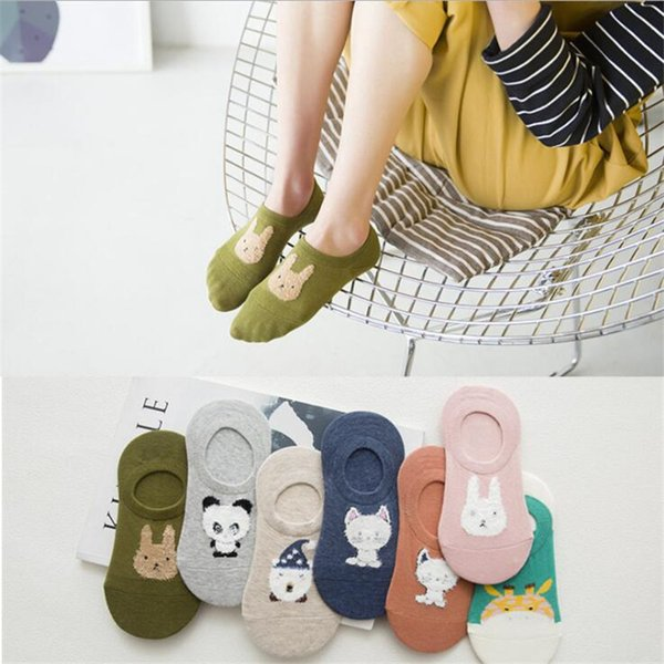 Summer Fall Women Girl Silicone Gel Boat Socks Non-slip Antiskid Cartoon Panda Invisible Socks Slippers Summer Anti-Slip