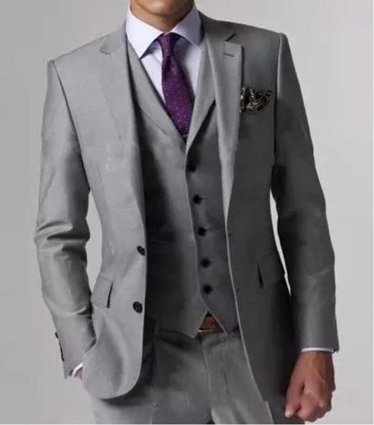 Alta calidad Light Grey Side Vent Tuxedos Novios Padrino de boda Best Man Men Trajes de boda Novio (chaqueta + pantalones + chaleco + corbata)