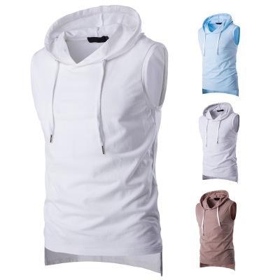 2018 Summer Casual Men's Solid Sleeveless Sports Cotton T-Shirt Hooded Tank Top Hoodies Tee Men Bodybuilding Fitness Tops
