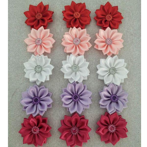 15pcs/lot 4.5cm Embellishe Satin Flower Headbands Satin Flowers 16pcs Petal Falt Back Without Hair Clip for Baby Decoration Photography DIY