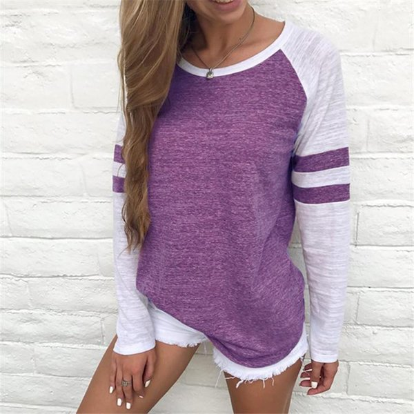 propcm / 2017 Fashion T-Shirt Women With Long Sleeve Luxury T-Shirts Striped Solid O-Neck Patchwork Plus Size Women Clothing Shirts Casual Tops Tee