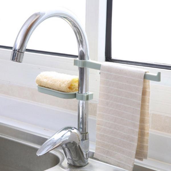 Waschbecken hängen Lagerregal Lagerung Inhaber Schwamm Bad Küche Wasserhahn Clip Geschirrtuch Clip Regal Drain trockenen Handtuch Veranstalter