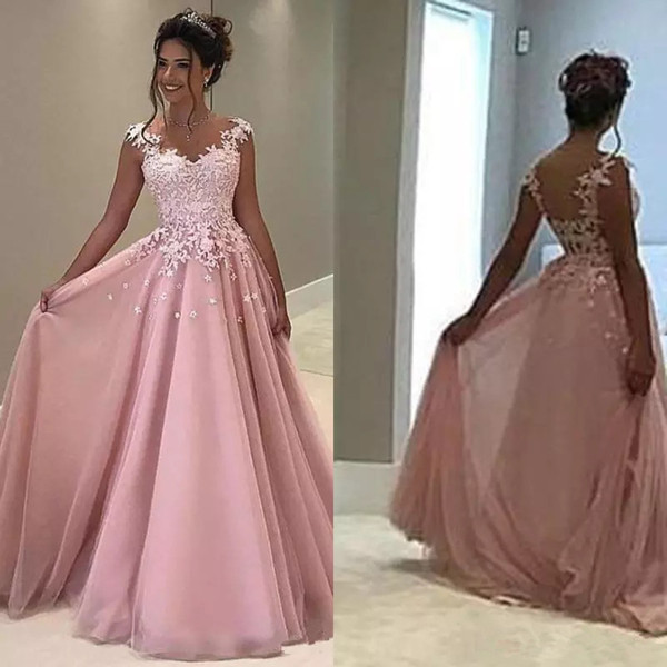 Pink Lace Prom Dresses Long Floor Length Appliqued Plus Size Formal