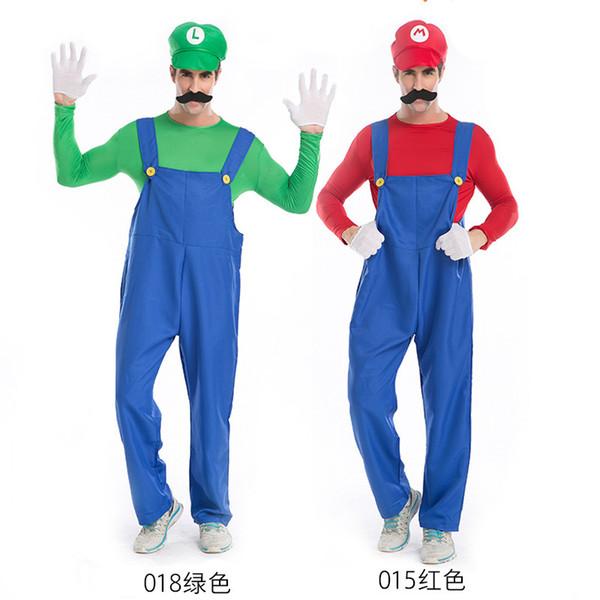 Costumi di Halloween Uomini Super Mario Luigi Brothers Costume di plastica tuta fantasia abbigliamento cosplay per uomini adulti