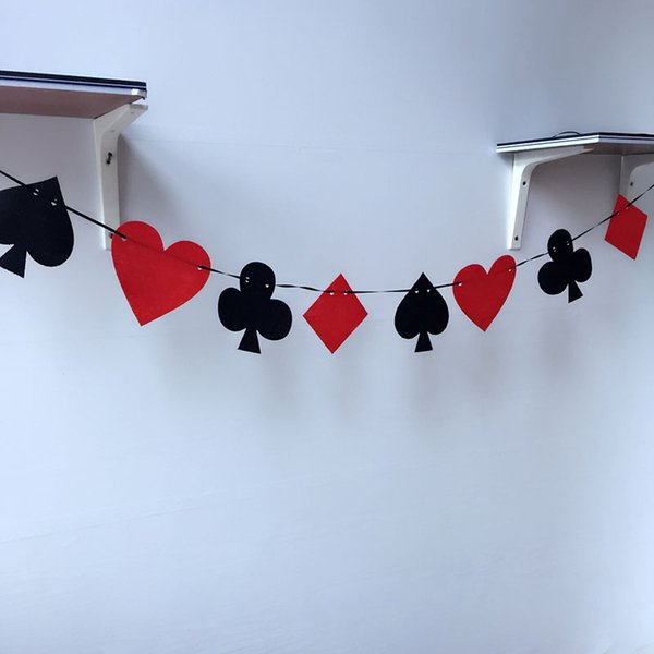 100set Casino Party Playing Cards Poker Pennant Bunting Flag Felt Banner Sign Birthday Hanging Decoration ZA5649