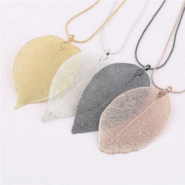 3Pcs Fashion Jewelry Maxi Necklace Rose Gold Color Chain Real Leaf Charm Design Pendant Necklaces & Pendants Women collier femme Gift