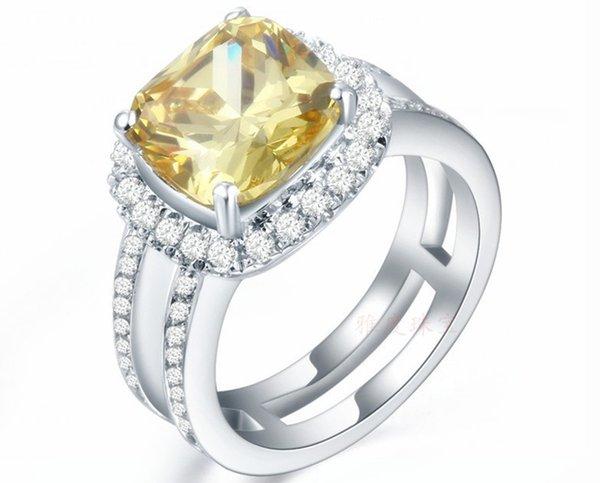 Роскошные 3CT Золотой синтетический алмаз обручальное кольцо стерлингового серебра имитация драгоценный камень юбилей ювелирные изделия кольцо для женщин белого золота заполнены