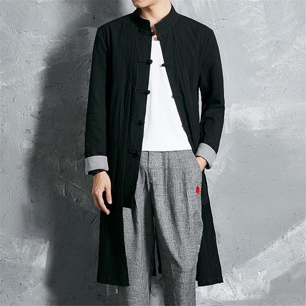 Traditional Chinese Tang Jacket Winter Long Cotton and linen Chinese Cloth Tang Clothing Coat Wing chun Kung fu coat M3-374