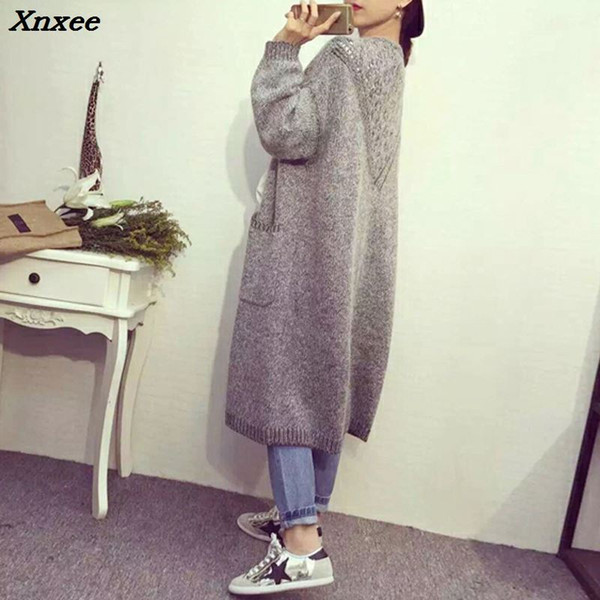2018 Autumn Ladies Loose Knitted Cardigans Coat Korean Wild Pocket Poncho Women Long Cardigan Sweater Gray Knitwear Xnxee