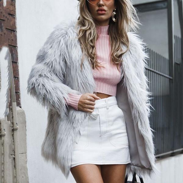 f60d3da813735 Women elegant Fluffy Faux Fur coat 2019 Warm Chic overSize Autumn Winter Hairy  Jacket Long Sleeve
