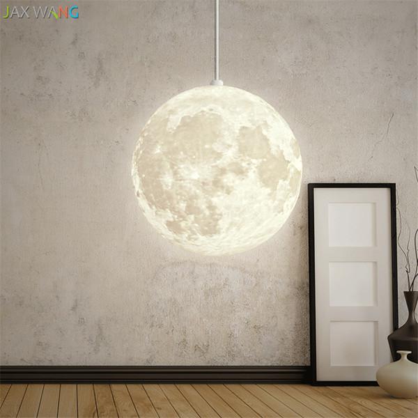 Nordic 3d Print Lunar Moon Pendant Lights Orb Living Room Bar Modern Bedroom Bedsides Warm Dining Room Hanging Lamps Fixtures