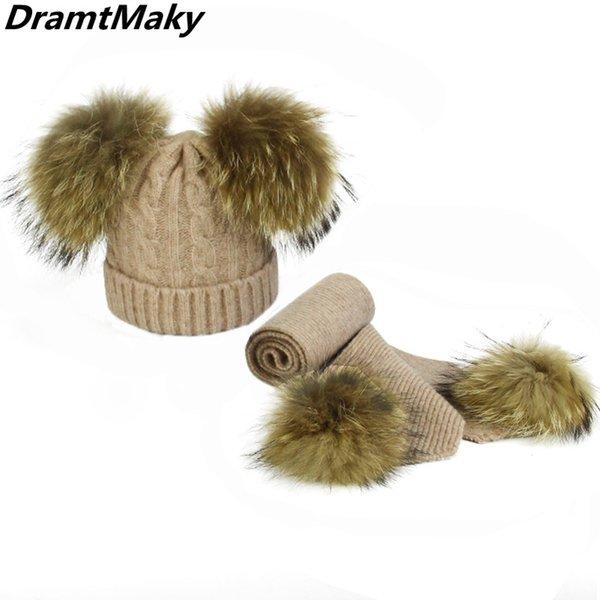 2019 Girl Pom Pom Beanie Warm Knitted Bobble Fur Pompom Hat and Scarf Set Children Real Raccoon Fur Pompon Winter Hat Skullies