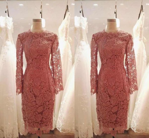 Elegant Long Sleeves Coral Bridesmaid Dresses Full Lace Appliques Knee Length Mother Of The Bride Dresses